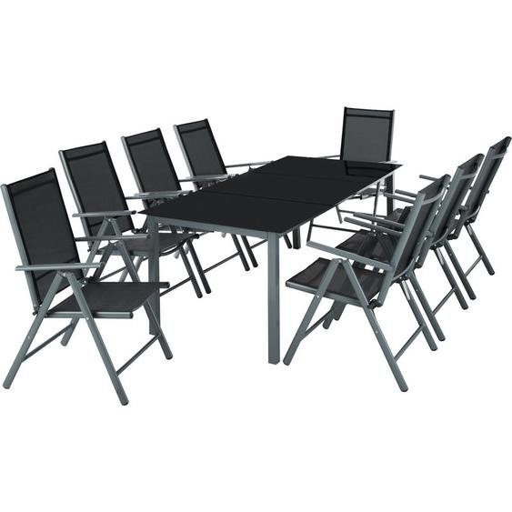 Aluminium Sitzgruppe 8+1 - Gartentisch, Gartenstuhl, Sitzbank - dunkelgrau
