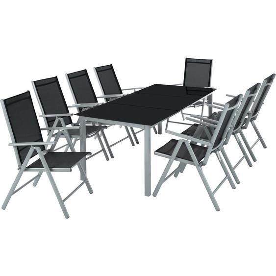 Tectake - Aluminium Sitzgruppe 8+1 - Gartentisch, Gartenstuhl, Sitzbank - hellgrau