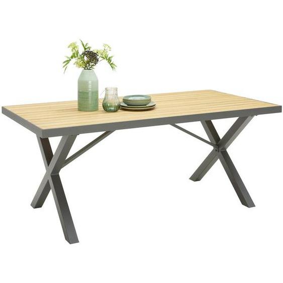 Ambia Garden Gartentisch , Grau, Natur , Holz, Metall , Eukalyptusholz , massiv , 91x74 cm