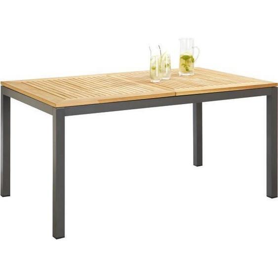 Ambia Garden Gartentisch Holz, Metall Grau, Braun , Teakholz , massiv, Hartholz , 90x74 cm