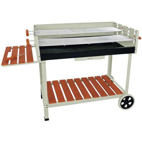 Ambia Garden Grillwagen , Grau , Holz, Metall, Kunststoff , 142x91x63 cm