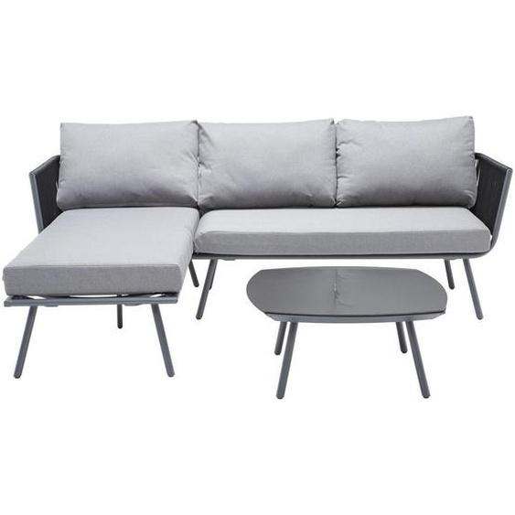 Ambia Garden Loungegarnitur Grau Aluminium, Stahl , Metall, Glas, Textil