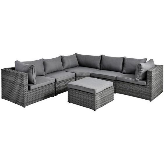 Ambia Garden Loungegarnitur Grau , Metall, Kunststoff, Textil