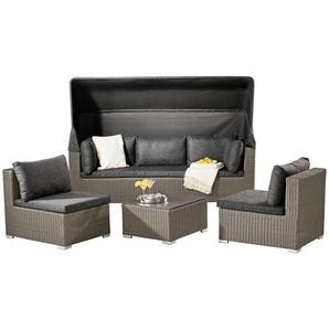Ambia Garden: Loungegarnitur, Grau, Schwarz