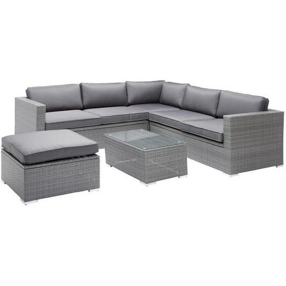 Ambia Garden Loungegarnitur Grau Stahl , Metall, Kunststoff, Glas, Textil