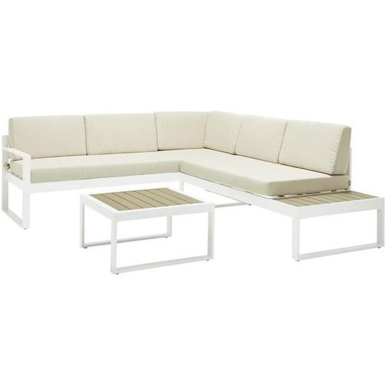 Ambia Garden Loungegarnitur Weiß, Braun Polywood® Aluminium , Metall, Kunststoff, Textil