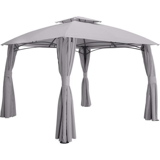 Ambia Garden Pavillon Stahl Grau , Textil , 400x270x300 cm