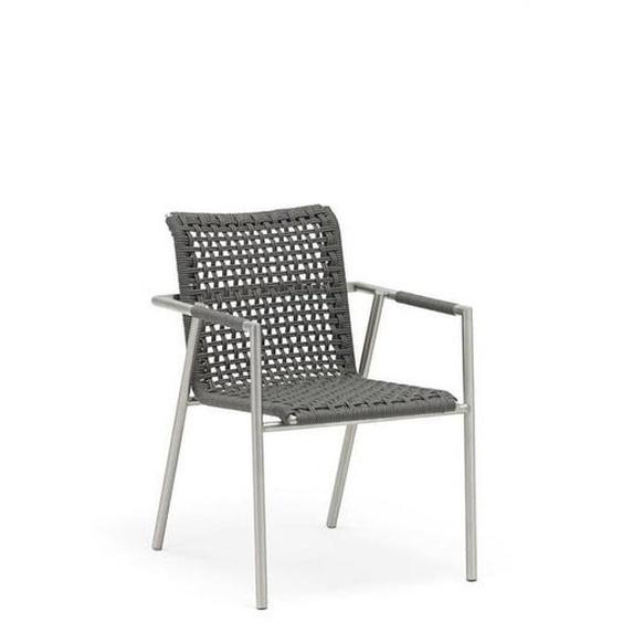 Ambia Garden Stapelsessel Edelstahl Silber, Grau , Edelstahl, Grau , Metall, Textil , 56x81x64 cm