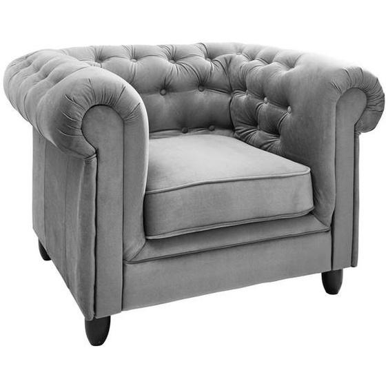 Ambia Home Chesterfield-Sessel Chenille Grau , Textil , 120x78x96 cm