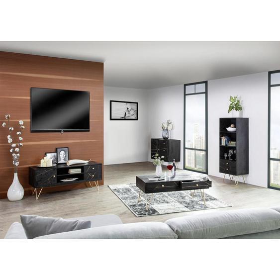 Ambia Home Regal Akazie massiv Schwarz, Gold , Holz , 2 Fächer , 2 Schubladen , 55x153x43 cm