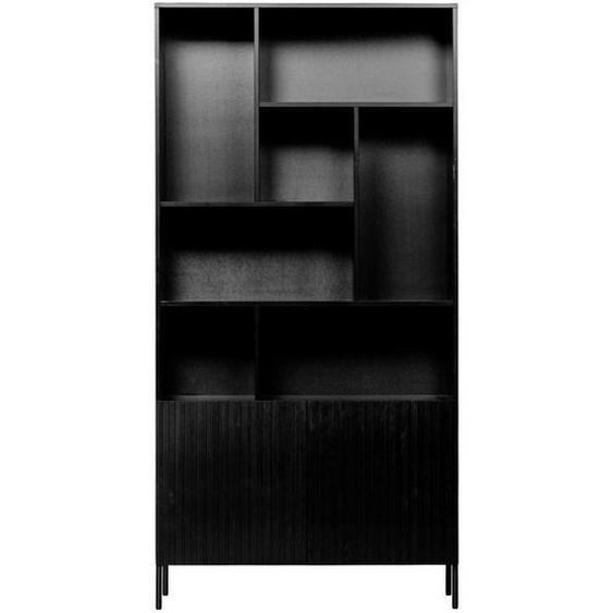 Ambia Home Schrank Kiefer massiv Schwarz , Holzwerkstoff , 2 Fächer , 100x200x37 cm
