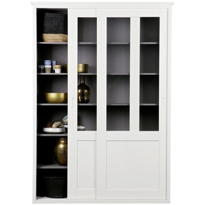 Ambia Home: Vitrine, Holz,Kiefer, Weiß, B/H/T 147 208 46