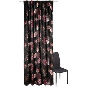 Ambiente Fertigvorhang halbtransparent 135/245 cm , Rot , Textil , Blume , 135x245 cm