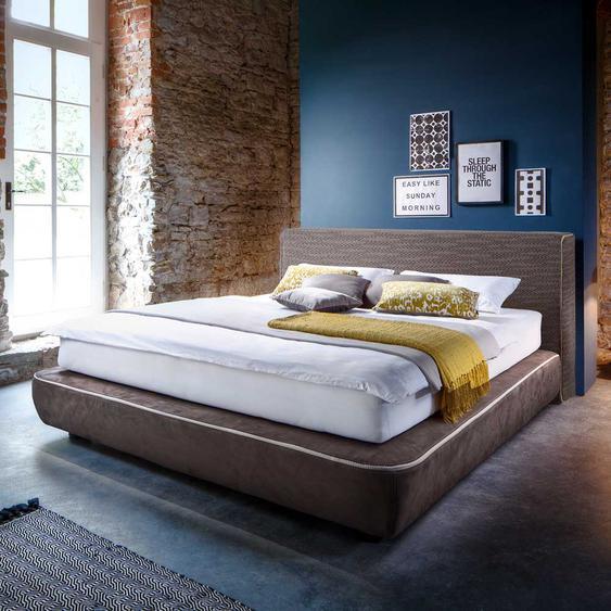Amerikanisches Bett in Hellbraun Microfaser modern