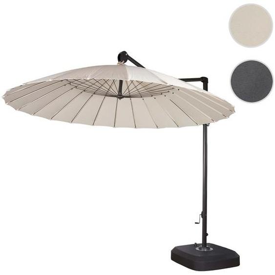Ampelschirm HWC-A34, Sonnenschirm mit St�nder/Schutzh�lle, drehbar rollbar � 2,8m Polyester Alu/Stahl 25kg ~ creme