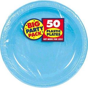 Amscan Kunststoffteller, karibisch, Blau, 50 Stück