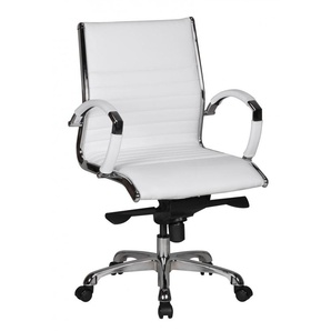 AMSTYLE Bürostuhl SALZBURG 2 Bezug Echtleder Weiß Design Schreibtischstuhl X-XL 120kg Chefsessel höhenverstellbar Drehstuhl ergonomisch mit Armlehnen Polster niedrige Rücken-Lehne Wippfunktion niedrig