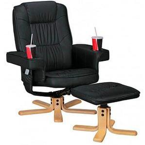 AMSTYLE Sessel mit Hocker schwarz Kunstleder