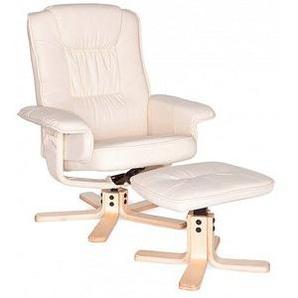 AMSTYLE Sessel mit Hocker creme Kunstleder