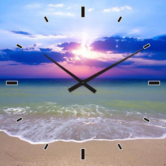 Analoge Wanduhr Sonnenuntergang am Meer 60 cm