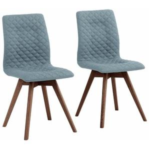 andas 4-Fußstuhl Rania, Beine in eiche oder nussbaum. Im 2er, 4er 6er-Set B/H/T: 45 cm x 91 55 cm, 6 St., Webstoff fein, Nussbaum blau 4-Fuß-Stühle Stühle Sitzbänke