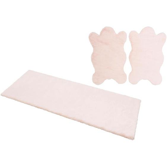 andas Bettumrandung Mombert, Kaninchenfell-Haptik, Kunstfell, sehr weicher Flor B/L (Brücke): 70 cm x 110 (2 St.) (Läufer): 200 (1 St.), rechteckig rosa Bettumrandungen Läufer Teppiche
