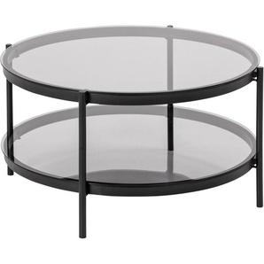 andas Couchtisch »Bayern«, Rauchfarbene Glastischplatte, mit einem Metallgestell, einem praktischen Ablageboden und einer runden Form