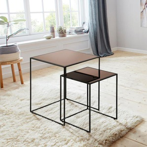 Places Of Style Beistelltisch »Bryan« (2er-Set) aus Spiegelglas und Metall