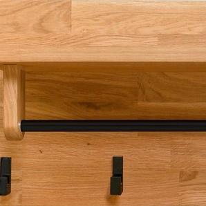 andas Garderobenpaneel »Elba«, aus massivem Eichenholz, mit einer Kleiderstange und fünf Haken aus Metall, Breite 81 cm