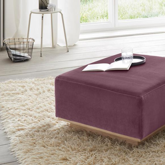 andas Hocker Santo Samt, 50/50 cm lila Polsterhocker Nachhaltige Möbel