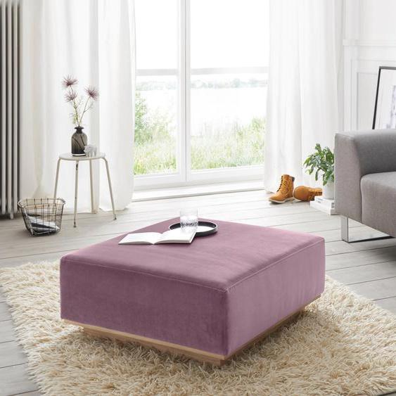 andas Hocker Santo Samt, 80/80 cm lila Polsterhocker Nachhaltige Möbel