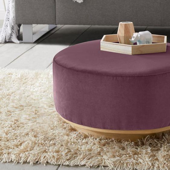 andas Hocker Santo Samt, Durchmesser 50 cm lila Polsterhocker Nachhaltige Möbel