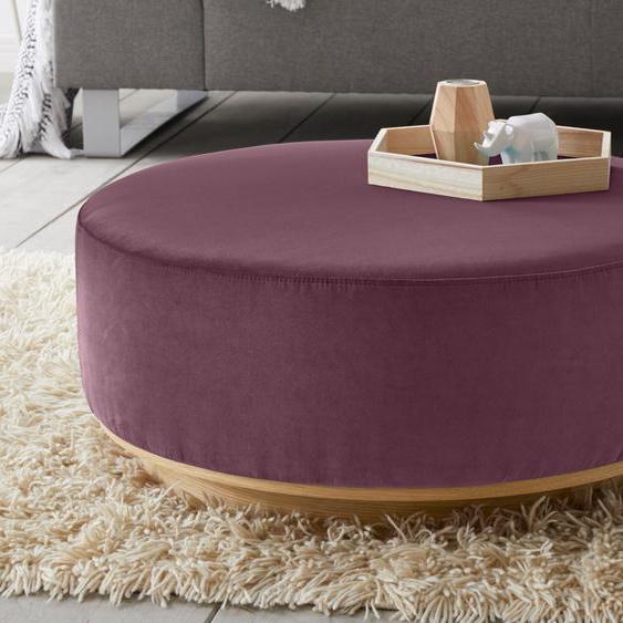 andas Hocker Santo Samt, Durchmesser 80 cm lila Polsterhocker Nachhaltige Möbel
