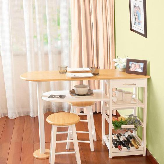 andas Küchenbar Nizza, mit zwei Barhockern Einheitsgröße beige Esszimmertische Tische Nachhaltige Möbel