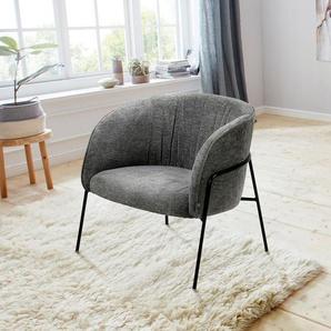 andas Loungesessel »Selmer«, aus schönem Metallbeingestell und trendigem anthrazitfarbenen Webstoffbezug