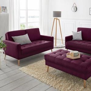 andas Set 2- und 2,5-Sitzer »Kiara«, Steppung im Sitzbereich, Holzfüße