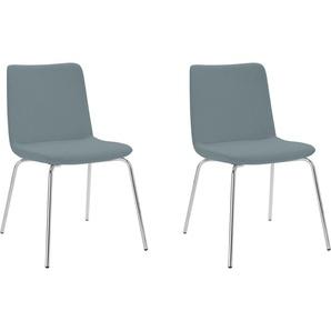 andas Stuhl Helen, mit Metallbeinen (2er-Set) Luxus-Microfaser grün 4-Fuß-Stühle Stühle Sitzbänke