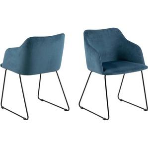 andas Stuhl »Niela« (Set, 2 Stück), in zwei schönen Bezugsqualitäten, mit Metallgestell, Sitzhöhe 48 cm