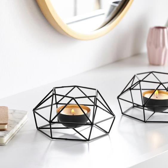 andas Teelichthalter, im Scandi-Stil 16x8,5 cm schwarz Kerzenhalter Kerzen Laternen Wohnaccessoires