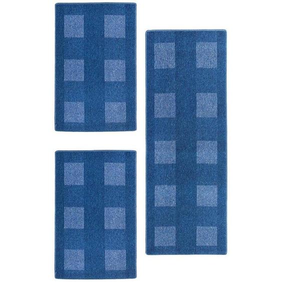 Andiamo Bettumrandung Dijon, Bettvorleger, Läufer-Set für das Schlafzimmer B/L (Brücke): 67 cm x 120 (2 St.) (Läufer): 200 (1 St.), rechteckig blau Bettumrandungen Läufer Teppiche