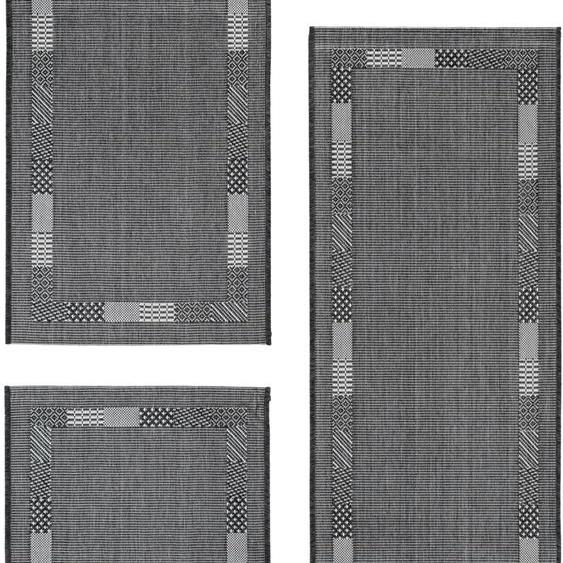 Andiamo Bettumrandung Montana, Flachgewebe, Bettvorleger, Läufer-Set für das Schlafzimmer, gewebt B/L (Brücke): 67 cm x 140 (2 St.) (Läufer): 180 (1 St.), rechteckig grau Bettumrandungen Läufer Teppiche