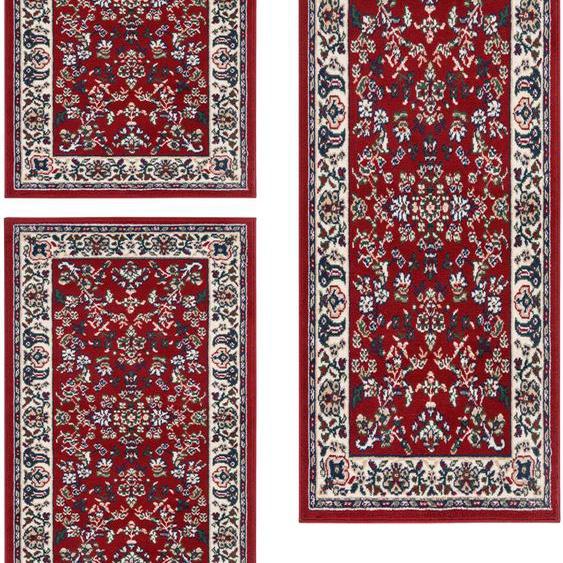 Andiamo Bettumrandung Orient, Bettvorleger, Läufer-Set für das Schlafzimmer, gewebt, Orient-Optik B/L (Brücke): 60 cm x 110 (2 St.) (Läufer): 180 (1 St.), rechteckig rot Bettumrandungen Läufer Teppiche