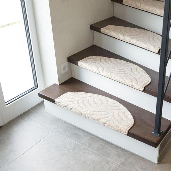 Andiamo Stufenmatte Amberg, halbrund, 9 mm Höhe, Hoch-Tief-Struktur, erhältlich als Set mit 2 Stück oder 15 B/L: 28 cm x 65 cm, St. beige Stufenmatten Teppiche