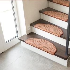 Andiamo Stufenmatte Amberg, halbrund, 9 mm Höhe, Hoch-Tief-Struktur, erhältlich als Set mit 2 Stück oder 15 B/L: 28 cm x 65 cm, St. braun Stufenmatten Teppiche