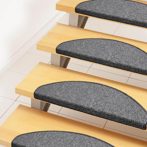 Andiamo Stufenmatte Bob, halbrund, 4,5 mm Höhe, melierte Schlinge, erhältlich als Set mit 2 Stück oder 15 B/L: 65 cm x 28 cm, St. grau Stufenmatten Teppiche