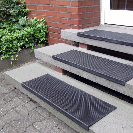 Andiamo Stufenmatte Gummi, rechteckig, 7 mm Höhe, Gummi-Stufenmatten, Treppen-Stufenmatten, In- und Outdoor geeignet, 5 Stück in einem Set B/L: 25 cm x 75 cm, St. schwarz Stufenmatten Teppiche
