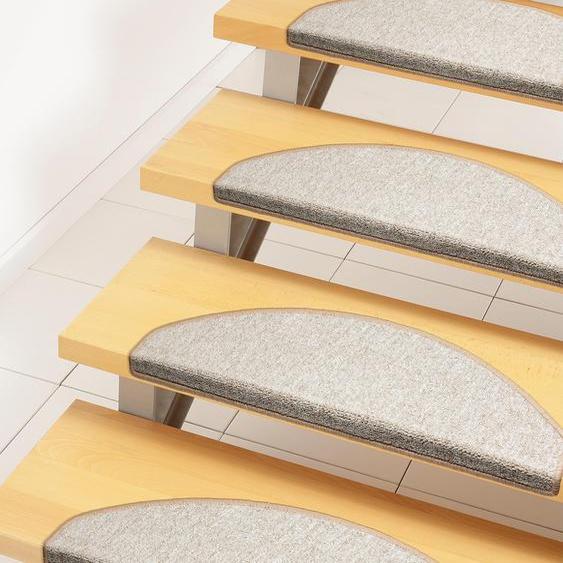 Andiamo Stufenmatte Rambo, halbrund, 4 mm Höhe, melierte Schlinge, 15 Stück in einem Set B/L: 65 cm x 28 cm, St. beige Stufenmatten Teppiche