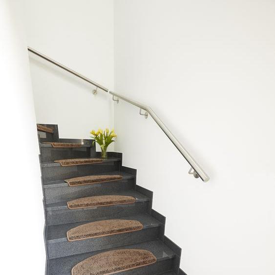 Andiamo Stufenmatte Shaggy, rechteckig, 15 mm Höhe, große Farbauswahl, Stück in einem Set B/L: 25 cm x 65 cm, St. braun Stufenmatten Teppiche