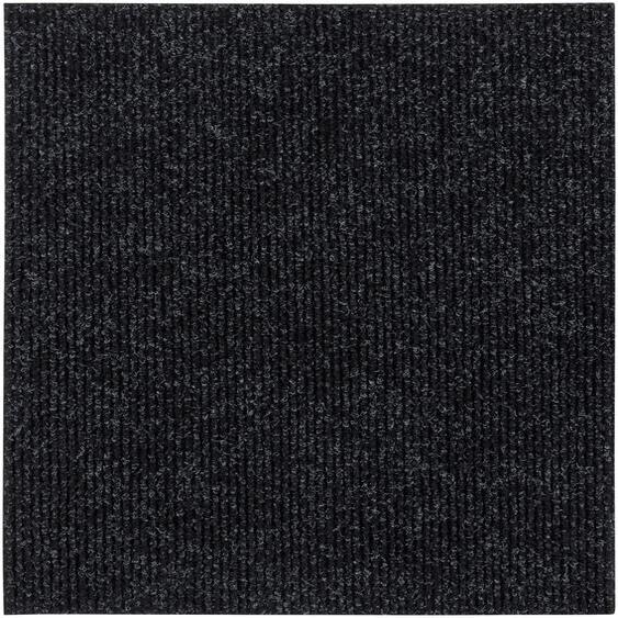 Andiamo Teppichfliese Rippe Nadelfilz, quadratisch, 4 mm Höhe, 16 Stück (4 m²), selbstklebend, robust & strapazierfähig B/L: 50 cm x cm, St. schwarz Teppichfliesen Bodenbeläge Bauen Renovieren