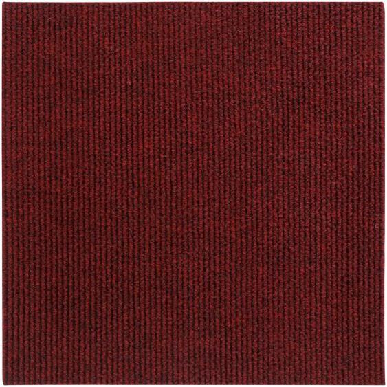 Andiamo Teppichfliese Rippe, rechteckig, 4 mm Höhe, Stück (1 m²), selbstklebend, für Stuhlrollen geeignet B/L: 50 cm x cm, St. rot Teppichfliesen Bodenbeläge Bauen Renovieren